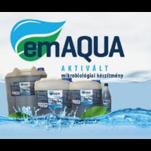 emAQUA aktivált mikrobiológia készítmény vizek, vizes élőhelyek kezelésre, különböző kiszerelésekben